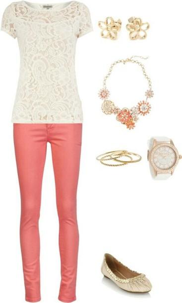 pants coral skinny jeans jewels