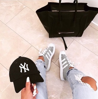 shoes adidas adidas originals grey white personalised white stripes style fashion denim ripped jeans celine celine bag trainers black and white love beautiful bag hat