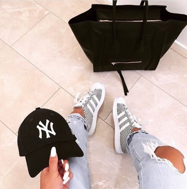 3a12d8e97c8a shoes adidas adidas originals grey white personalised white stripes style  fashion denim ripped jeans celine celine