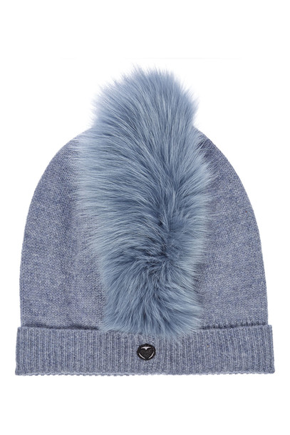 Charlotte Simone Mo Mohawk Cashmere Hat with Fox Fur  in blue