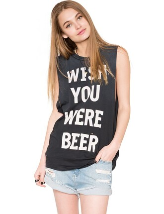unif black vintage muscle tee tank top summer outfits cute pixie market pixiemarket cute tress beer alcohol muscle tank summer dress affordable clothing affordable clothes