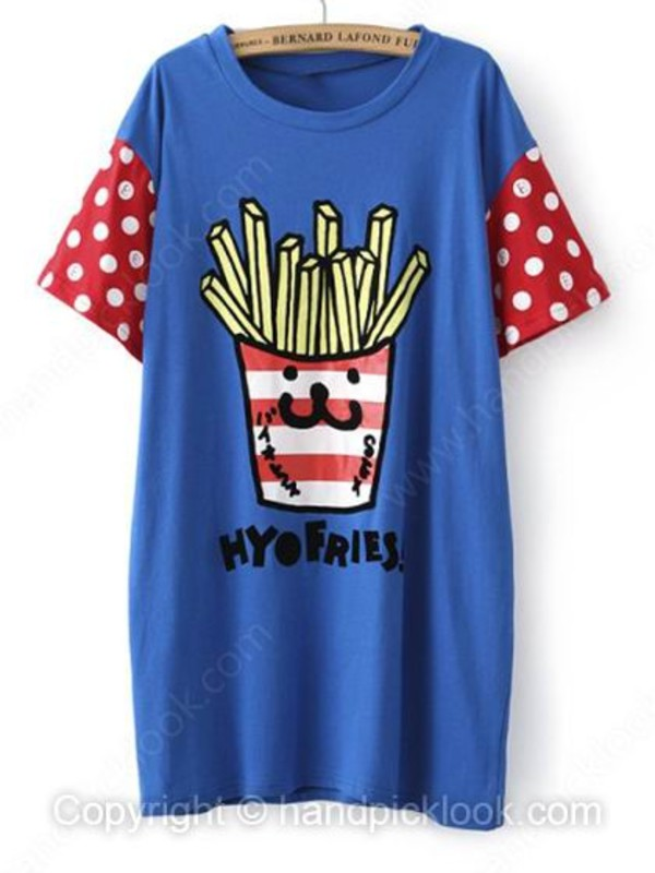 t-shirt multicolor oversized cardigan oversized shirt blue t-shirt fries printed t-shirt