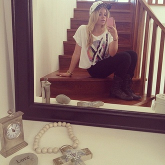 shirt alli simpson t-shirt blogger white crop tops hat shoes