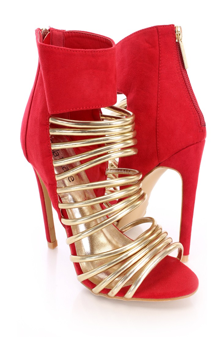 Red Metallic Strappy Booties Faux Suede
