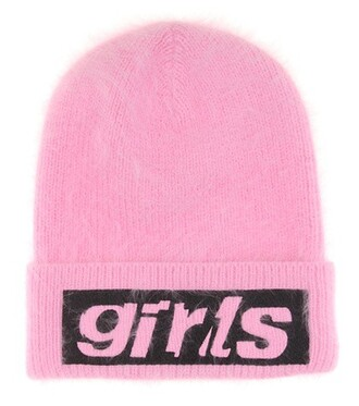 embroidered beanie pink hat