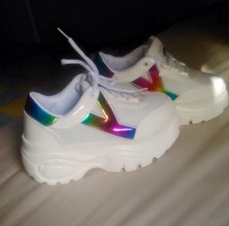 shoes sneakers white rainbow baskets platform shoes sketchers yru cyber
