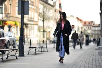 shiny sil blogger bag jeans top coat jacket jewels sunglasses