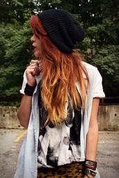 hat,beanie,black beanie,90s grunge,90s style,girly grunge,grunge,soft grunge,pastel,goth hipster,hipster,shirt
