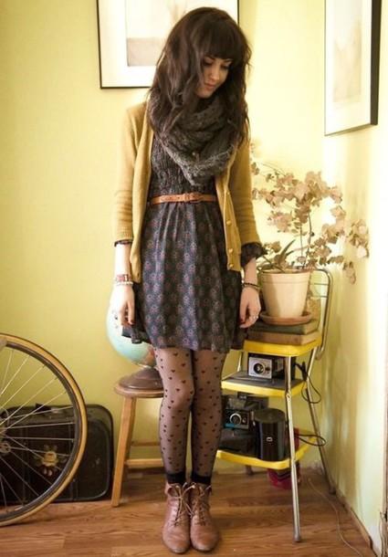 dress cardigan scarf tights boots drees