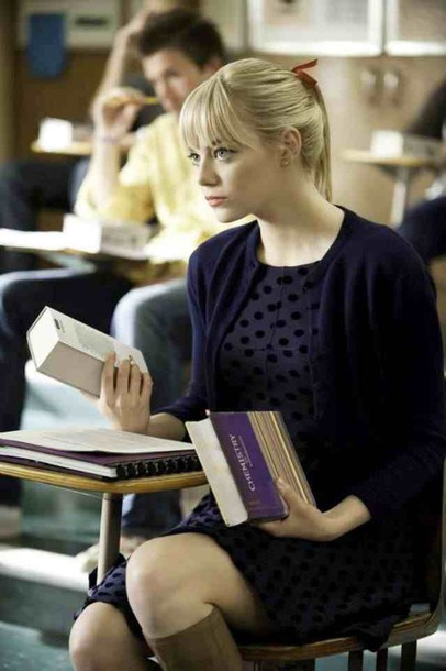 dress navy dress polka dots dress emma stone gwen stacy