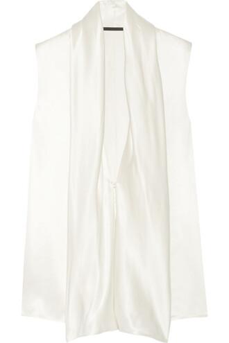 blouse draped silk satin cream top