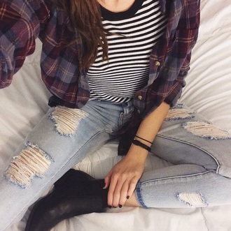 cardigan flannel shirt rainbow striped dress style fashion clothes fall outfits fall shirt flannel t-shirt
