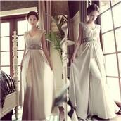 dress,champagne dress,long dress