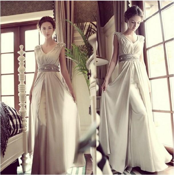 dress champagne dress long dress