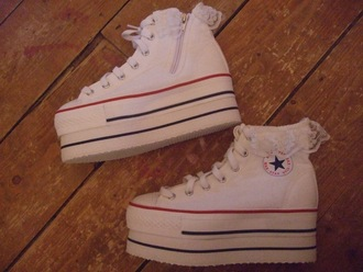 shoes platform sneakers zip-up white laces white sneakers converse
