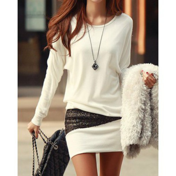 long sleeve dress silver sequins dress white dress white casual dress casual