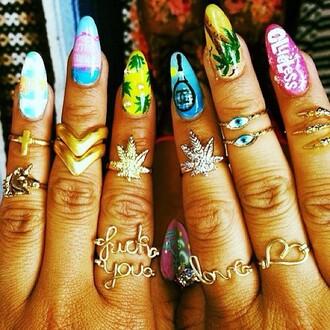 nail polish ring nails weed eye jewels cardigan