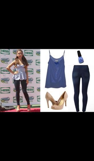 blouse high heels jeans ariana grande blue blouse nude high heels nail polish skinny jeans