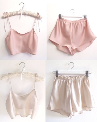 pajamas silk sleepwear cute top and bottom twitter shorts top