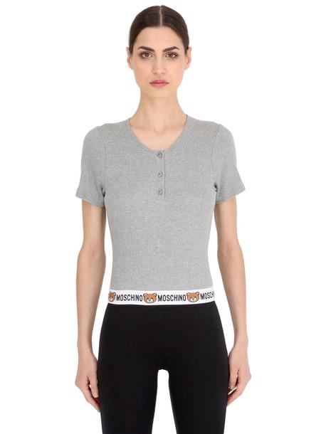 28fa9bb21e817 MOSCHINO UNDERWEAR Teddy Bear Logo Ribbed Cotton T-shirt in grey ...