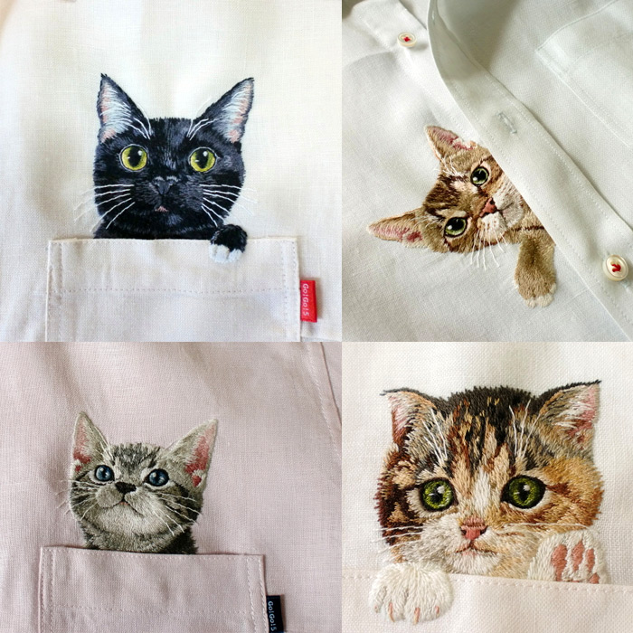 Artist Hiroko Kubota Embroiders Popular Internet Cats on Shirts at the Request of Her Son | Colossal