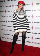 sweater,hat,olivia culpo,boots,striped sweater,red,earrings,sweater dress,oversized sweater,jewels