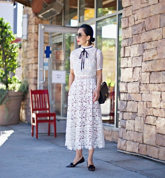 hallie daily blogger white lace dress