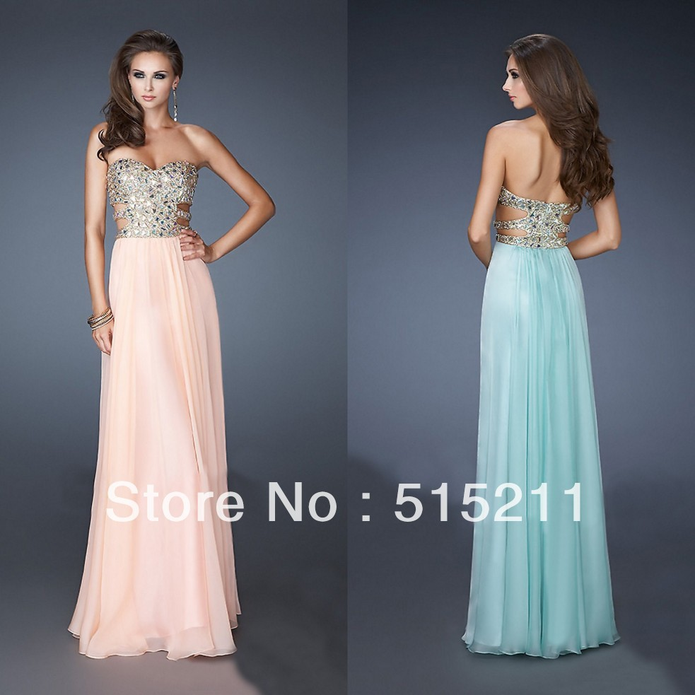 Heavy Beaded Sweetheart Side Cut Outs Pink Blue Floor Length Prom Dresses 2014 New Arrival Party Evening Gowns-in Prom Dresses from Apparel & Accessories on Aliexpress.com