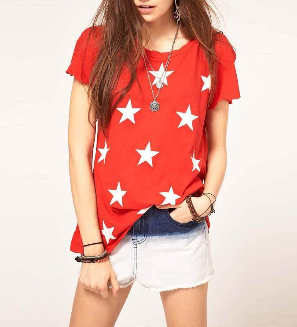 Fashion white stars print t shirt t shirts tee shirts for Designer tee shirts womens