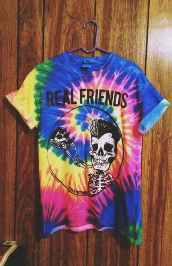 shirt oversized t-shirt tie dye skeleton funny pizza tie dye shirt friends t-shirt multicolor
