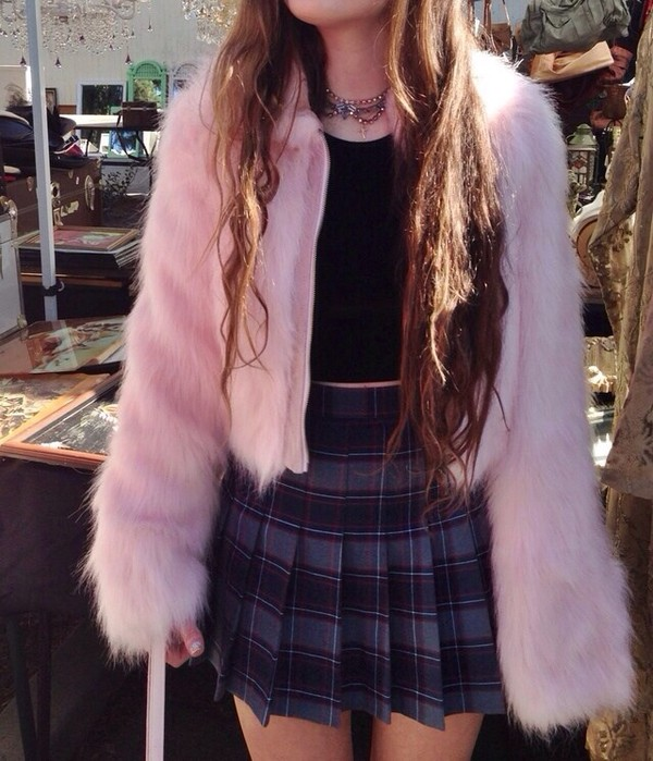 skirt fur pink fluffy fur jacket plaid plaited skirt fashion weird coat pleated skirt plaid skirt jacket fluffy pastel 90s style grunge pale haute couture fluffy pink coat pink jacket faux fur cute 90s style soft grunge alternative outfit style fashion 90s style mini skirt jewels diamonds choker necklace necklace chandelier grey metal dark