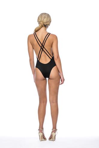 swimwear black one piece