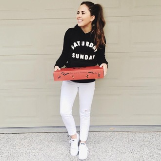 dress corilynn blogger dress shoes sweater bag jeans black sweater quote on it fall outfits fall sweater white jeans skinny jeans white sneakers