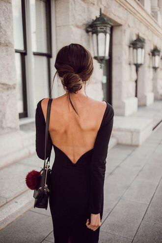 dress open back dresses sexy dress date outfit black purse blogger