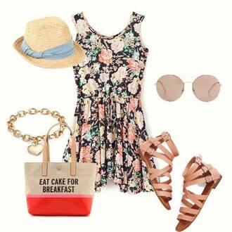bag quote on it dress floral floral dress hat sunglasses bracelets sandals