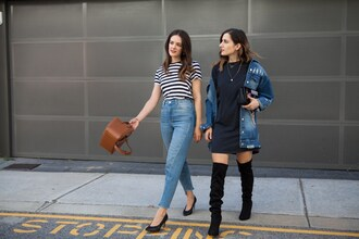 inspiring wit blogger jacket t-shirt dress shoes bag jeans spring outfits high heel pumps boots striped top high waisted jeans brown bag denim jacket t-shirt dress