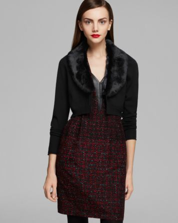Nanette Lepore Cardigan - Mademoiselle Knit Cafe with Rabbit Fur | Bloomingdale's