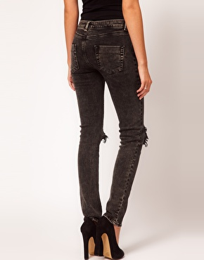 washed black skinny jeans - Jean Yu Beauty