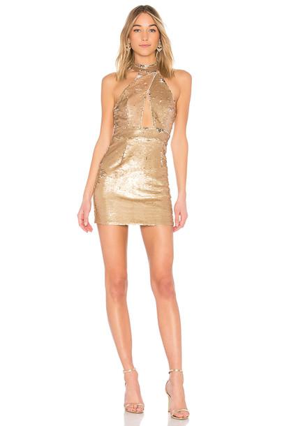 NBD dress metallic gold