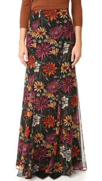 Cinq A Sept Wildflower Poseidon Skirt - Black Multi