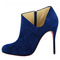 In stock finest materials french footwear christian louboutin lisse 100mm suede booties blue red sole shoes good quality