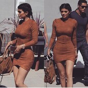 dress,kylie jenner,stuffed animal,orange,brown,brown dress,bodycon dress