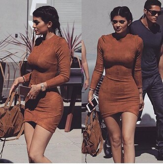 dress kylie jenner stuffed animal orange brown brown dress bodycon dress