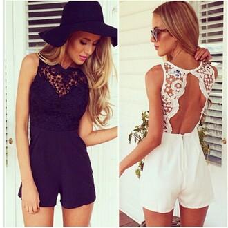 jumpsuit black white lace romper sexy backless beach beautiful fashion hat summer sunshine