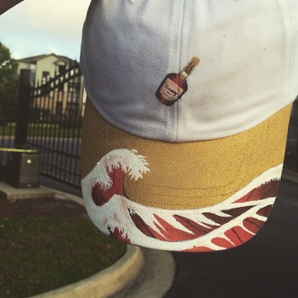 hat white waves hennessy brown cap