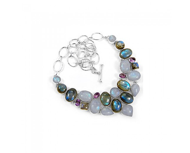 Awesome 925 sterling silver Rainbow Moonstone Labradorite And Amethyst Gemstone Cluster Necklace