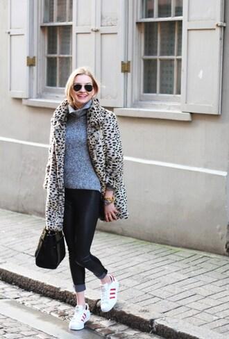 cocos tea party blogger turtleneck animal print winter coat