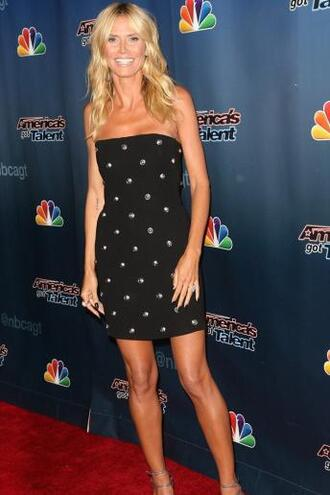 dress mini dress strapless heidi klum embellished dress