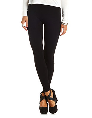 Ankle Length Stretch Cotton Leggings: Charlotte Russe