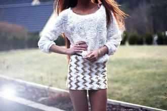 top white rose roses floral white top white sweater sweater fashion skirt